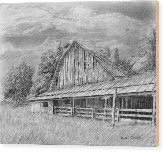 Barn On Byhalia Road Wood Print