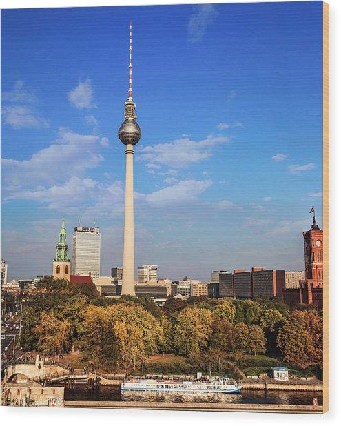 Berlin, Germany Fernsehturm Tv Tower Wood Print by Miva Stock