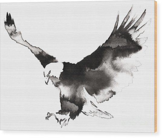 Black And White Monochrome Painting Wood Print