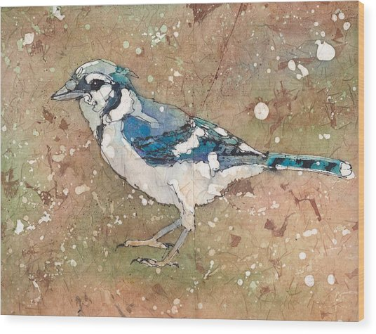 Wood Print featuring the painting Blue Jay by Ruth Kamenev