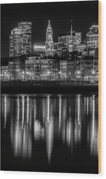 Boston Evening Skyline Of North End And Financial District - Monochrome Wood Print