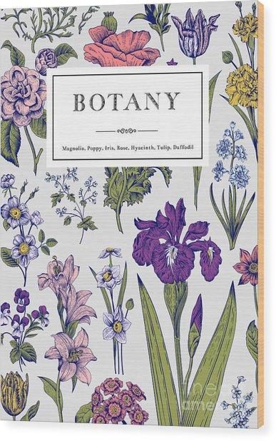 Botany. Vintage Floral Card. Vector Wood Print