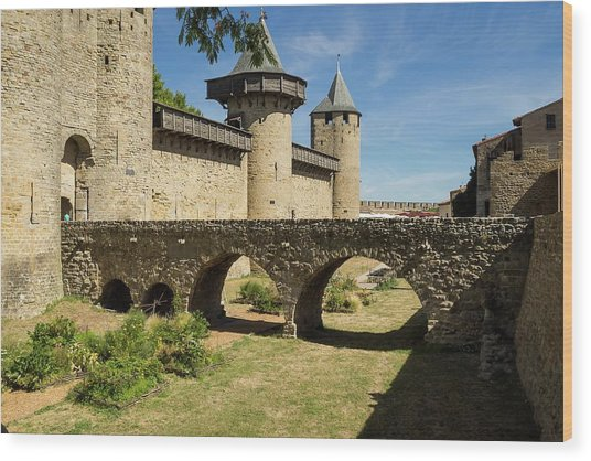 Bridge At Carcassonne Wood Print