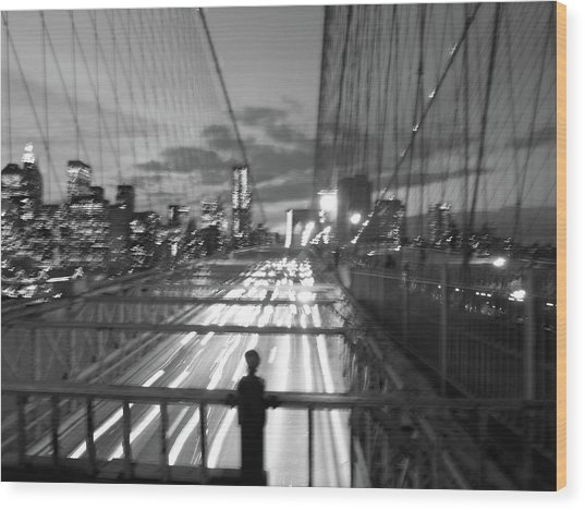 Wood Print featuring the photograph Brooklyn Bridge by Edward Lee