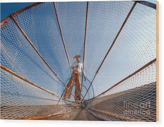 Burma Myanmar Inle Lake Fisherman On Wood Print