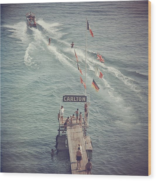 Cannes Watersports Wood Print by Slim Aarons