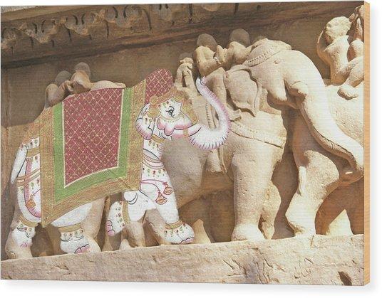 Caparisoned Elephants  Wood Print
