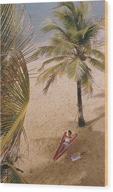Caribe Hilton Beach Wood Print by Slim Aarons