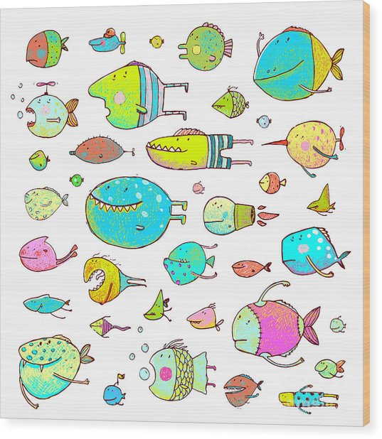 Cartoon Bizarre Fish Collection For Wood Print