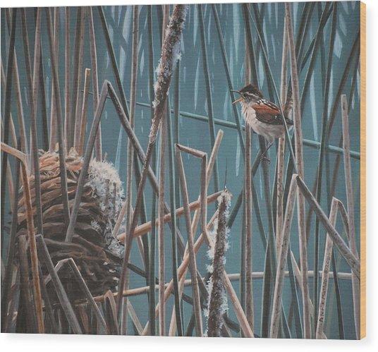 Cattail Hideaway Wood Print