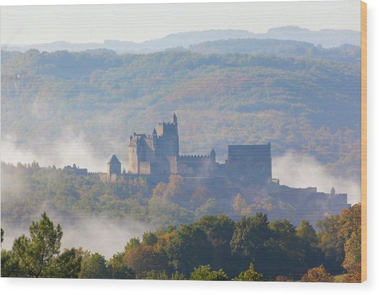 Chateau Beynac In The Mist Wood Print