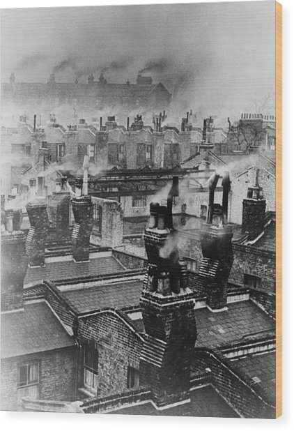 Chimney Smoke Wood Print by Fred Morley