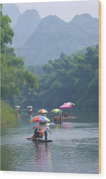 Chinese Tourists In Bamboo Raft At Wood Print