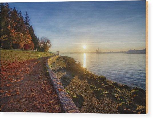 Colorful Autumn Sunrise At Stanley Park Wood Print