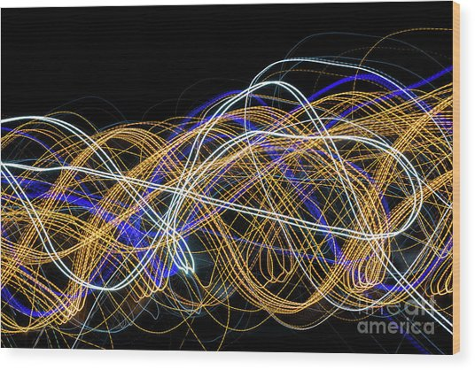 Colorful Light Painting With Circular Shapes And Abstract Black Background. Wood Print
