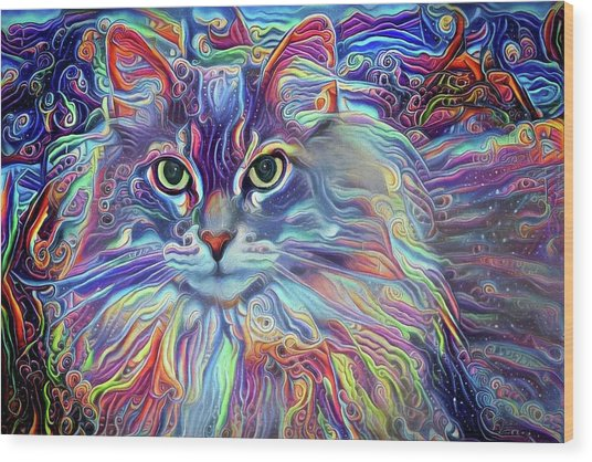 Colorful Long Haired Cat Art Wood Print