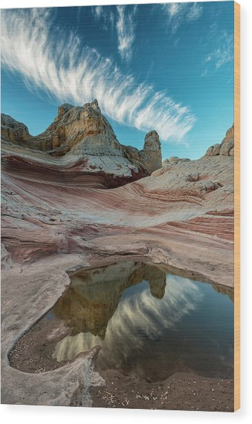 Contrail, Pool Reflection And Sandstone Wood Print by Howie Garber