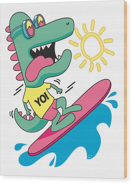 Cool, Cute Monster Crocodiles Wood Print
