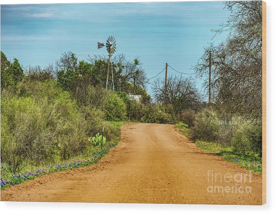 Country Road Wood Print by Elijah Knight