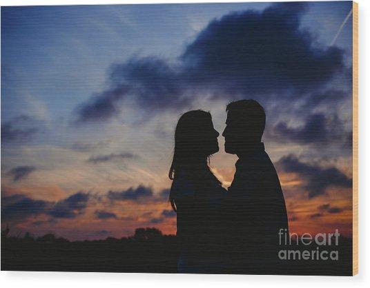 Couple With Cloud Sky Backlight Wood Print