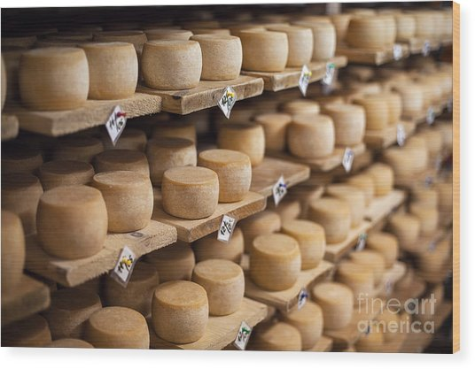 Cow Milk Cheese, Stored In A Wooden Wood Print by Maxim Golubchikov