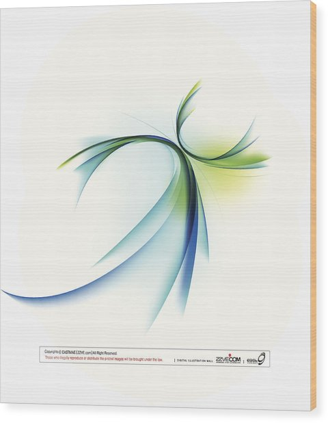 Curved Shape On White Background Wood Print by Eastnine Inc.