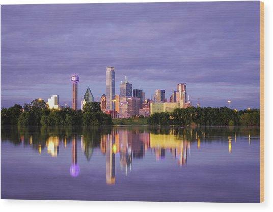 Dallas Texas Cityscape Reflection Wood Print