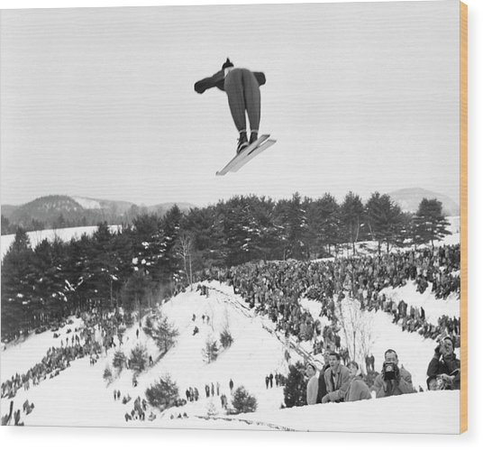 Dartmouth Carnival Ski Jumper Wood Print
