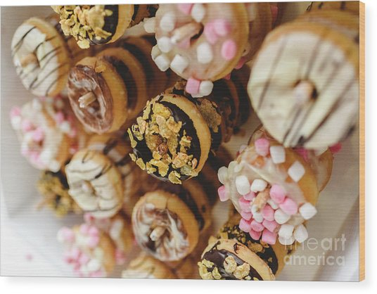 Donuts Of Different Flavors, To Put On An Unhealthy Diet Wood Print