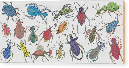 Doodle Bugs Wood Print