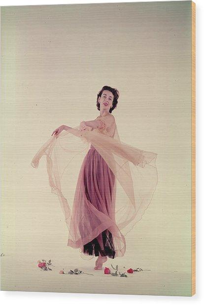 Dorian Leigh In Nightgown Wood Print by Gjon Mili