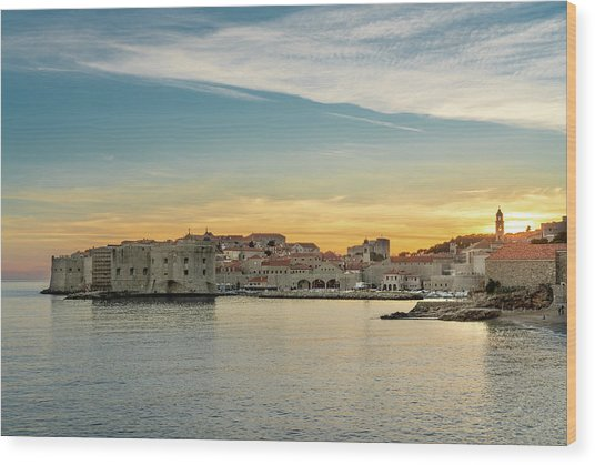 Dubrovnik Old Town At Sunset Wood Print