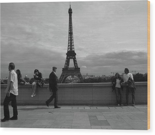 Wood Print featuring the photograph Eiffel Tower, Tourist by Edward Lee