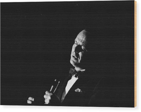 Entertainer Frank Sinatra Singing Wood Print