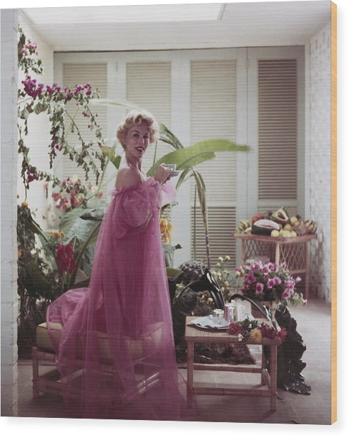 Eva Gabor Wood Print by Slim Aarons
