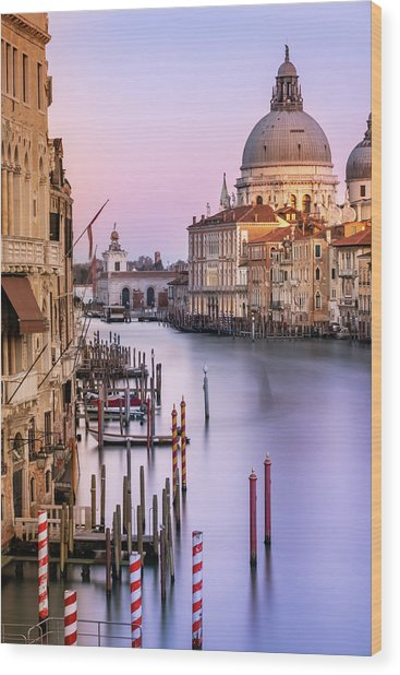 Evening Light In Venice Wood Print