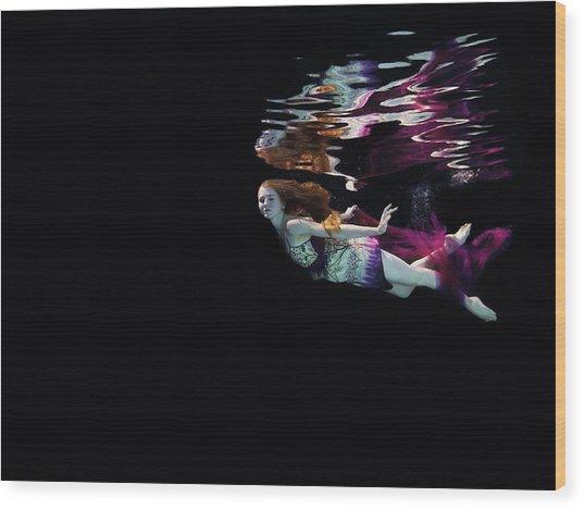 Female Dancer Floating Underwater Wood Print