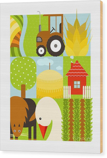 Flat Childish Rectangular Agriculture Wood Print