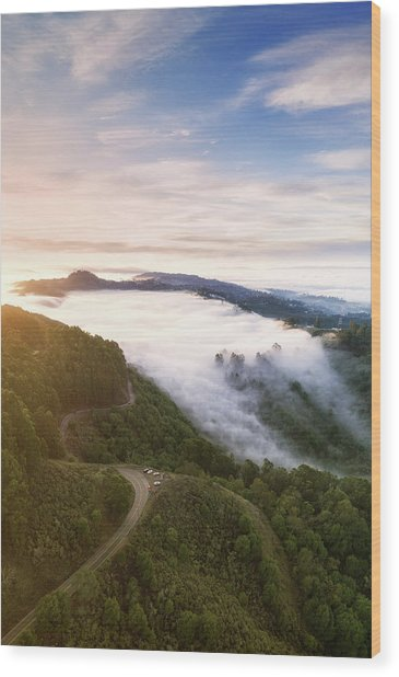 Fogfall, Berkeley Hills Wood Print by Vincent James
