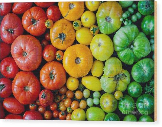 Fresh Heirloom Tomatoes Background Wood Print