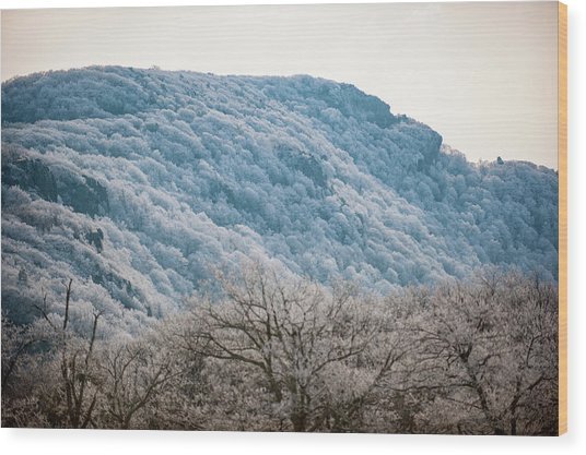 Frost On The Mountain Wood Print