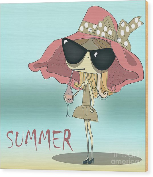 Funny Summer Girl Drinking The Cocktail Wood Print