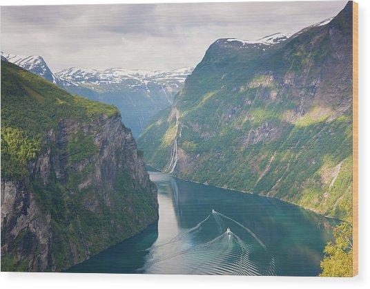 Geirangerfjord, Western Fjords, Norway Wood Print