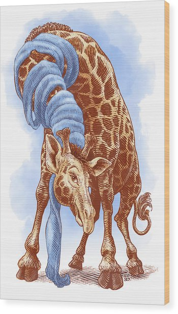 Wood Print featuring the drawing Giraffe by Clint Hansen