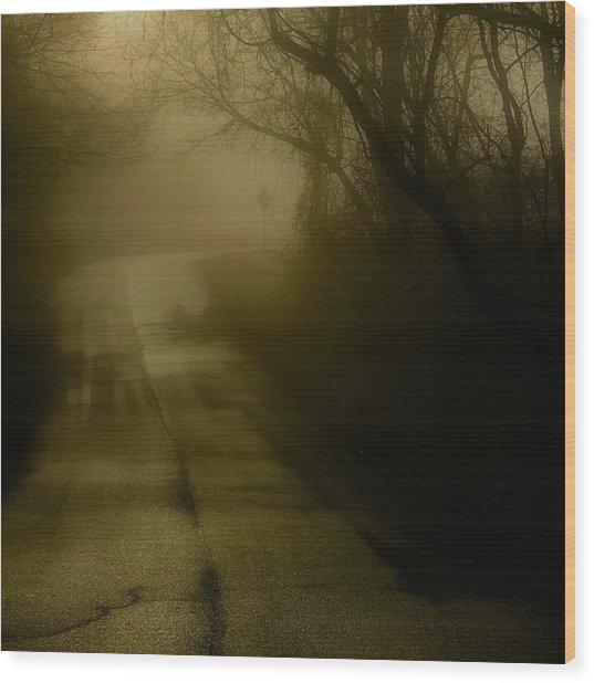 Golden Fog Wood Print