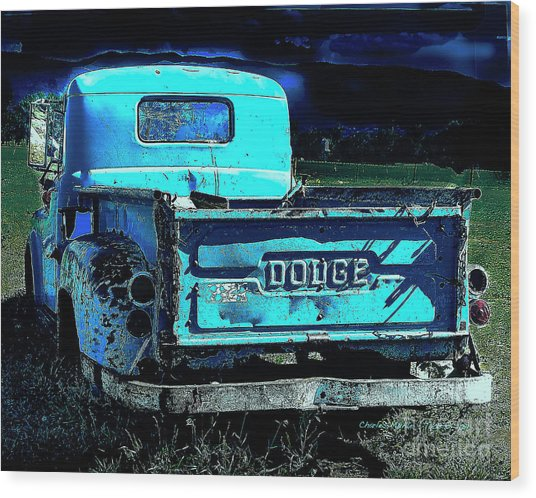 Green Dodge Wood Print