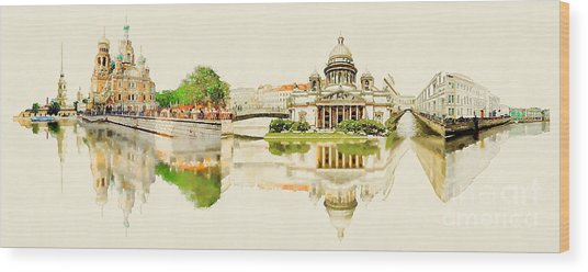 High Resolution Panoramic Water Color Wood Print by Trentemoller