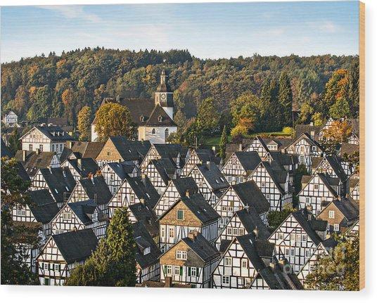 Historic German Fachwerkhaus Buildings Wood Print