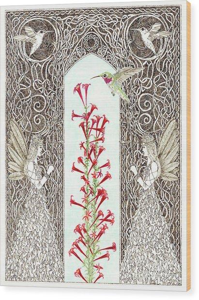 Hummingbird Sanctuary Wood Print
