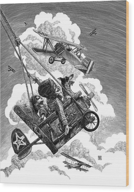 Wood Print featuring the drawing I Want To Fly by Clint Hansen